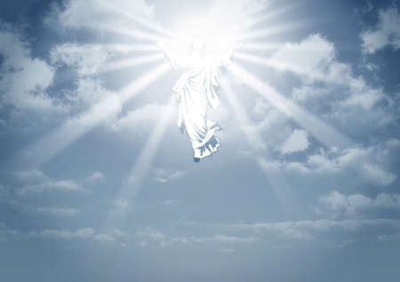 the christ: An illustration depicting the resurrection and ascension into the clouds in heaven of jesus