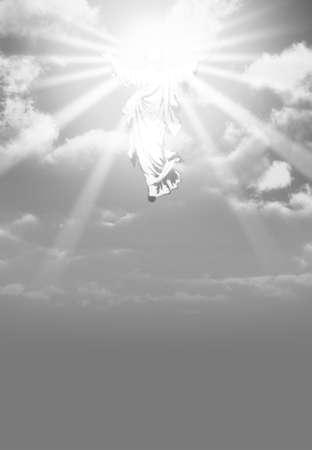 cielos abiertos: Una ilustración que representa la resurrección y la ascensión hacia las nubes en el cielo de Jesús Foto de archivo