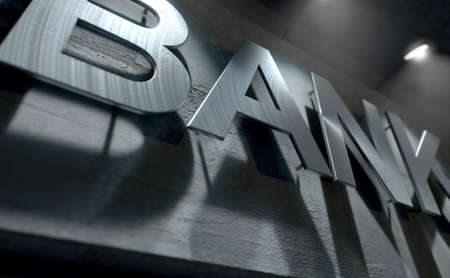 A 3D render of laser cut signage above the entrance to a modern generic bank building composed of exposed concrete in the night time