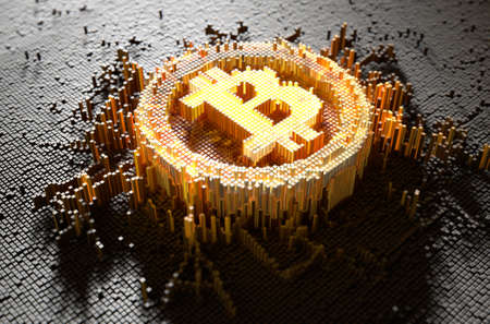 A 3D render of a microscopic closeup concept of small cubes in a random layout that build up to form the bitcoin symbol illuminated