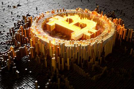 Un rendu 3D d'un concept de closeup microscopique de petits cubes dans une disposition aléatoire qui se construit pour former le symbole bitcoin illuminé Banque d'images - 68542766