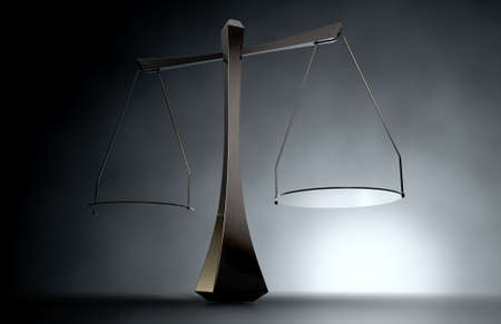 tipping: A 3D render of a modern simplistic justice scale backlit on an eerie dark background