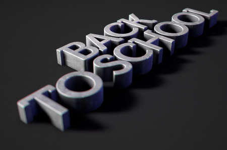 A 3D render of metal extruded text spelling out the phrase back to school on classy black background