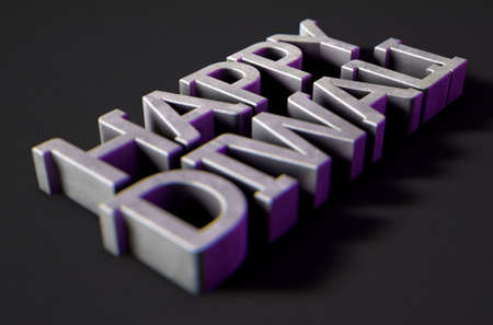 A 3D render of metal extruded text spelling out the phrase happy diwali on classy black background