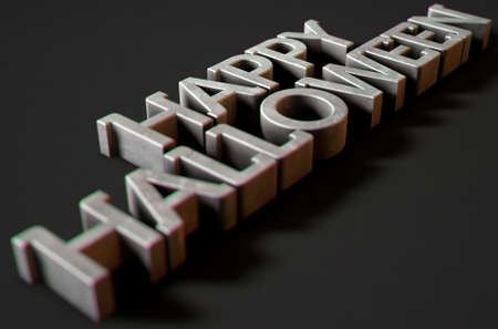 A 3D render of metal extruded text spelling out the phrase Happy Halloween on classy black background Stock Photo
