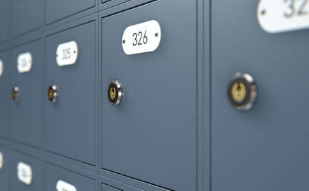 post mail: A 3D render of a bank of private numbered post office mail boxes with a locking mechanism