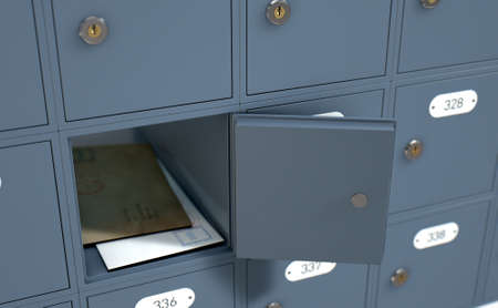 post mail: A 3D render of a bank of private numbered post office mail boxes with one open revealing letters inside Stock Photo