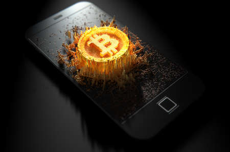 A 3D render of a microscopic closeup concept of small cubes in a random layout that build up to form the bitcoin symbol illuminated on a generic smartphone Stockfoto