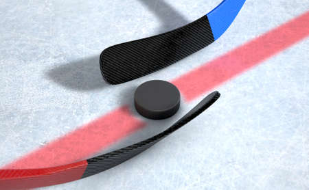 standoff: A 3D render of the center mark of an ice hockey rink stadium with a hockey puck and opposing sticks Stock Photo
