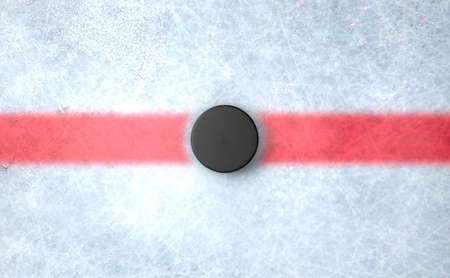 rink: A 3D render of the center mark of an ice hockey rink stadium with a hockey puck Stock Photo