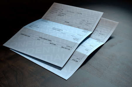 inequality: A 3D render concept showing two fictitious paychecks with a huge difference in the nett pay highlighting the income inequality created by capitalism