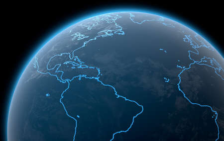 A 3D render of planet eart with iluminated blue outlines of continents on a dark space background Stock Photo