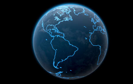 iluminated: A 3D render of planet eart with iluminated blue outlines of continents on a dark space background Stock Photo