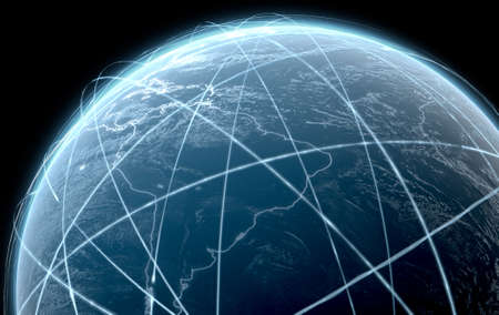 A 3D render of the earth surrounded by swishing orbiting light trails on a dark background Stock Photo