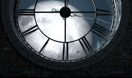 A 3D render of the interior of the attic room behind an antique tower clock backlit and illuminated by a full moon at night