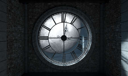 embellished: A 3D render of the interior of the attic room behind an antique tower clock backlit and illuminated by a full moon at night  Stock Photo