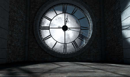 orologi antichi: A 3D render of the interior of the attic room behind an antique tower clock backlit and illuminated by a full moon at night  Archivio Fotografico