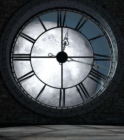 골동품 타워 시계 백라이트 뒤에 다락방 방의 내부의 3D 렌더링 및 보름달 밤에 조명 스톡 콘텐츠