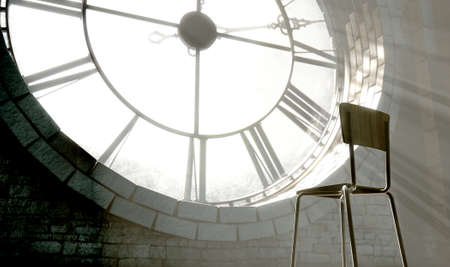 embellished: A 3D render of the attic room behind an antique tower clock brightly illuminated by the sun revealing an empty chair looking outwards