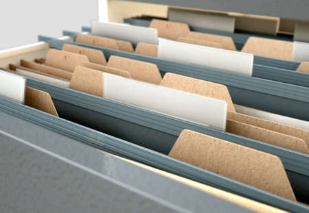 A 3D render closeup view of an open filing cabinet drawer revealling generic documents inside
