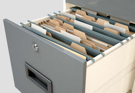 filing system: A 3D render closeup view of an open filing cabinet drawer revealling generic documents inside
