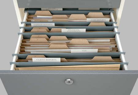 Una vista de portarretrato de 3D render de un cajón de archivador abierto revelando documentos relacionados con el impuesto sobre la renta dentro