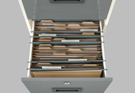 file folder: A 3D render closeup view of an open filing cabinet drawer revealling income tax related documents inside Stock Photo