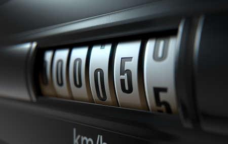 Een 3D-weergave van een analoge auto kilometerteller concept blijkt een zeer lage kilometerstand