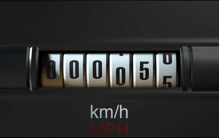 clicker: A 3D render of an analogue car odometer concept showing a very low mileage