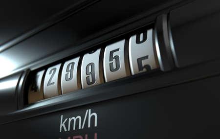 Een 3D-weergave van een analoge auto kilometerteller concept blijkt een zeer hoge kilometerstand