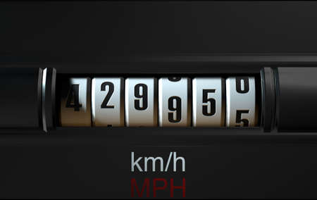 mileage: A 3D render of an analogue car odometer concept showing a very high mileage