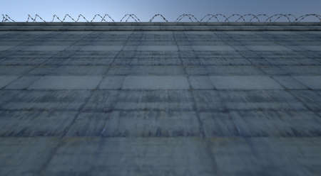 blockade: A 3D render of a massively high concrete security wall topped with barbed wire on a blue sky background