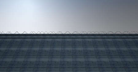 seperation: A 3D render of a massively high concrete security wall topped with barbed wire on a blue sky background