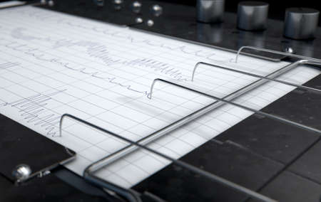 Eine 3D-Darstellung von einem Lügendetektor Lügendetektor Maschine rote Linien auf Millimeterpapier zeichnen