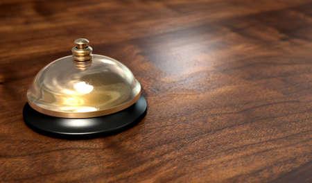 peal: A regular brass service bell on a wooden counter surface. 3D render.