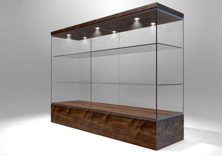 show case: An empty rectangular glass display cabinet with a wooden base and lid and glass shelves on an isolated studio background - 3D rendering
