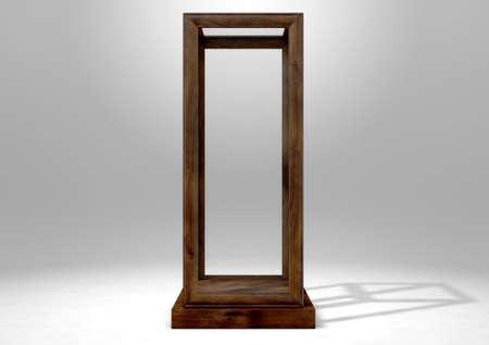Een lege verticle glazen vitrine met een houten voet en frame op een geïsoleerde studio achtergrond - 3D-rendering Stockfoto