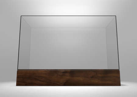An empty rectangular glass display case with a wooden base on an isolated studio background - 3D rendering