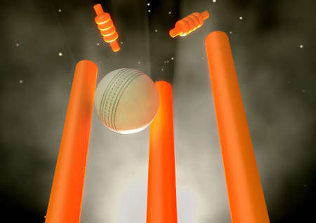 A white leather cricket ball hitting luminous orange cricket wickets on a night sky background - 3D render Stock Photo