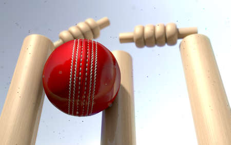 A close up of a red leather stitched cricket ball hitting wooden wickets with dirt particles emanating from the impact in the daytime - 3D render