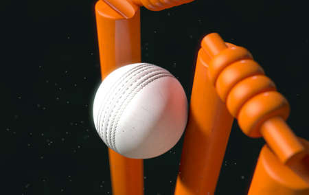 A close up of a white leather stitched cricket ball hitting orange wickets with dirt particles emanating from the impact at night - 3D render