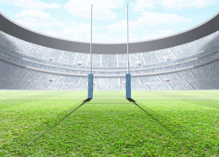 uprights: A generic seated rugby stadium showing a set of padded goal posts on a green grass pitch in the day time under a blue cloudy sky - 3D render