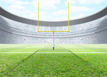 A generic seated american football stadium with yellow goal posts in the day time under a blue cloudy sky - 3D render