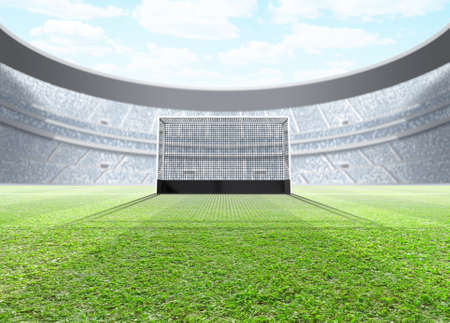 A generic seated lawn hockey stadium with a netted goal on a green grass pitch in the day time under a blue cloudy sky - 3D render