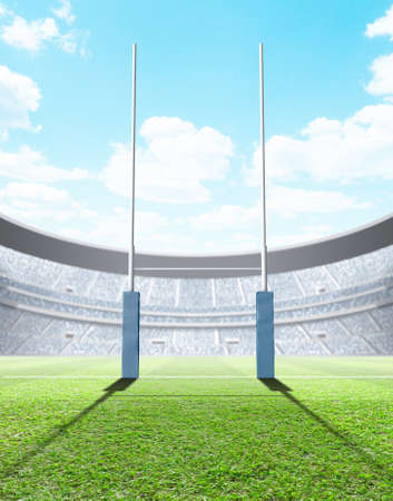A generic seated rugby stadium showing a set of padded goal posts on a green grass pitch in the day time under a blue cloudy sky - 3D render