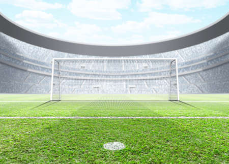 A generic seated soccer stadium showing a set of goals and penalty spot in the day time under a blue cloudy sky - 3D render