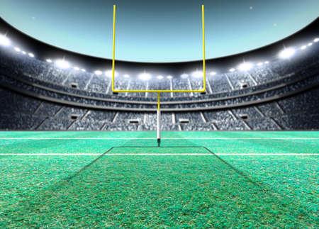 Un estadio de fútbol americano sentado genérico con postes amarillos en un campo de césped verde en la noche bajo reflectores iluminados - 3D render Foto de archivo