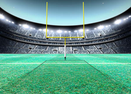 A generic seated american football stadium with yellow goal posts on a green grass pitch at night under illuminated floodlights - 3D render