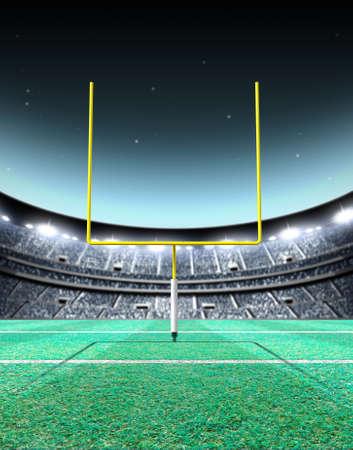Un stade de football américain assis générique avec des poteaux de but jaunes sur un terrain d'herbe verte la nuit sous des projecteurs illuminés - rendu 3D Banque d'images - 71621717
