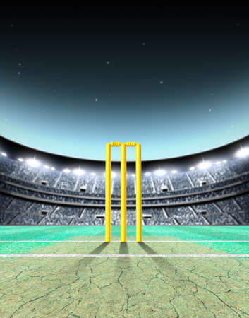 A generic seated cricket stadium with cracked pitch and yellow wickets on a green grass pitch at night under illuminated floodlights - 3D render
